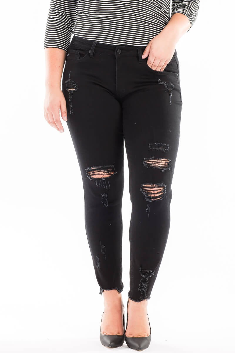 Plus Size Distressed Ankle Skinny