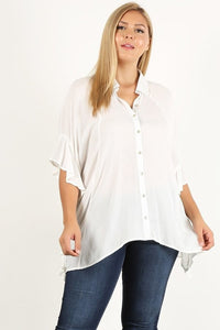 Button up Shirt with Dolman Sleeves and Ruffle Detail