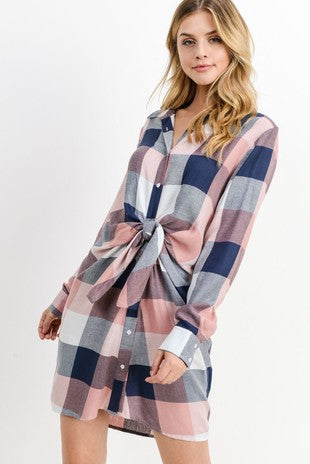 Plaid Front Tie Long Long Sleeve Shirt