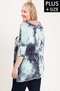Tie dye dolman plus top with 3/4 sleeve