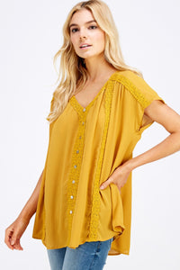Illusion Button Down Flowy Solid Top