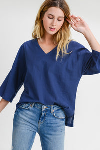 V-Neck Woven 3/4 Sleeve Top