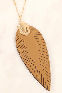 Feather Shape Leather Pendant Necklace