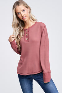 Elena Thermal Button Detail Knit Top