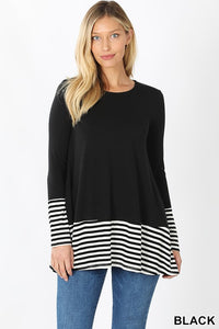PREMIUM STRIPED & SOLID CONTRAST TOP