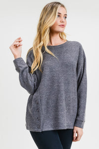 Round Neck Casual Button Side Top
