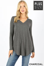 Load image into Gallery viewer, PREMIUM FABRIC LONG SLEEVE V-NECK ROUND HEM TOP