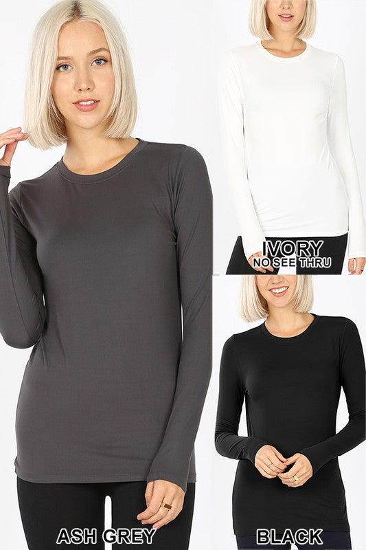 Microfiber Long Sleeve Round Neck Tee