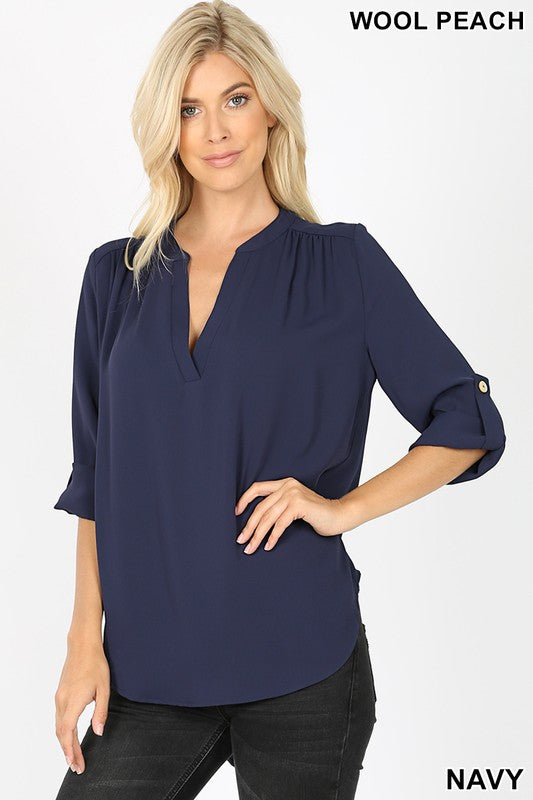 Woven Blouse with Roll Up Sleeve