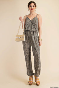 SOFT KNIT ANIMAL PRINTED FABRICATION STRAPPY SURPIICE JUMPSUIT