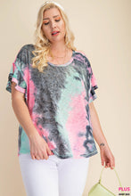 Load image into Gallery viewer, TIE DYE FABRIC SCOOP NECK RUFFLE SLEEVE TOP