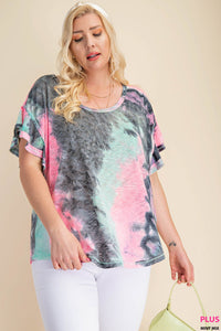 TIE DYE FABRIC SCOOP NECK RUFFLE SLEEVE TOP