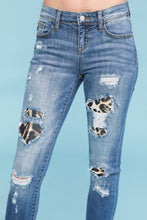 Load image into Gallery viewer, Soft Stretchy Denim with Leopard Patches