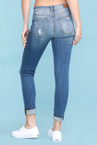 Soft Stretchy Denim with Leopard Patches