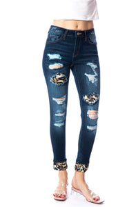 Mid Rise Leopard Patch Super Skinny