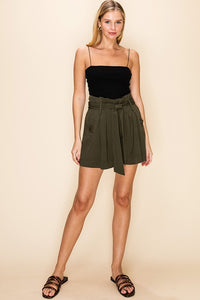 PAPERBAG WAIST PATCHED SHORTS