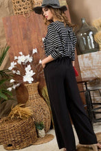 Load image into Gallery viewer, Striped Ruffle Sleeve Contrast Wide Jumpsuit