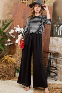 Striped Ruffle Sleeve Contrast Wide Jumpsuit
