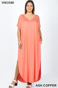 PLUS VISCOSE SIDE SLIT V-NECK MAXI DRESS