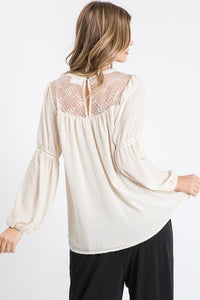 Solid Textured Long Sleeve Woven Blouse