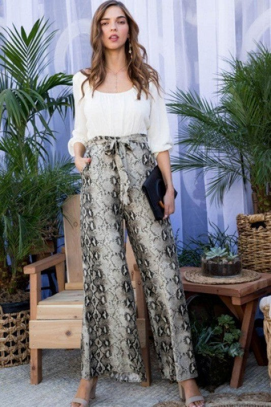 Snake Skin Pants with Contrast Top Jumpsuit