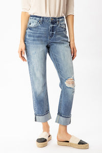 HIGH RISE CUFFED STRAIGHT CROPPED JEANS