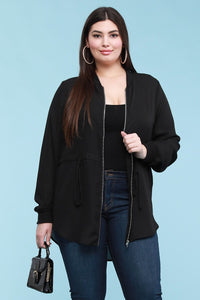 Sheer Solid Bomber Zip Jacket