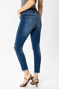 High Rise Ankle Skinny with Fray Hem