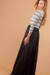 Stripe Charcoal Maxi Dress