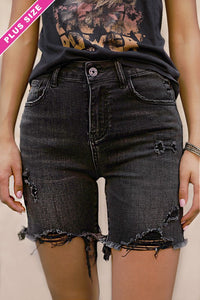 HIGH RISE DISTRESSED LONG SHORTS