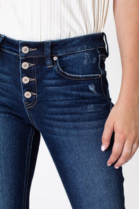 Mid Rise Distressed Flare Jeans