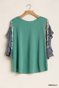 Round Neck Top with Printed Ruffle Sleeve