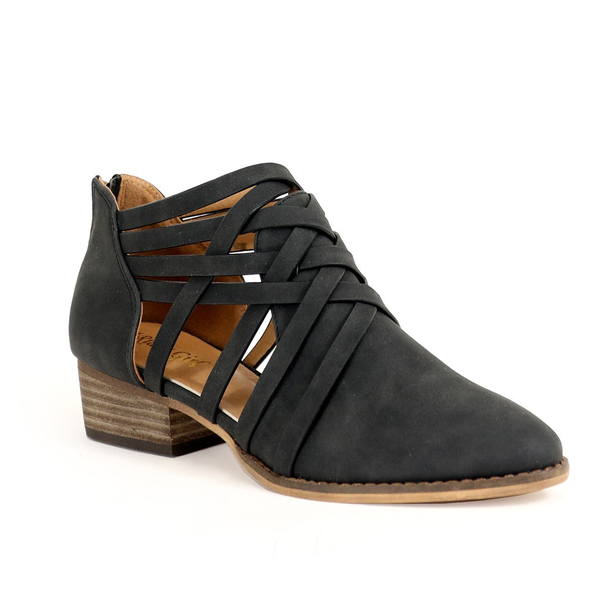 WOMENS STRAPPY OPEN SHANK ANKLE BOOTIES