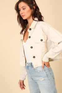 BUTTON DOWN JACKET WITH DOUBLE FRONT POCKETS
