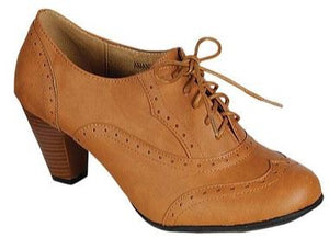 WOMENS OXFORD LACE UP CHUNKY HEEL SHOES