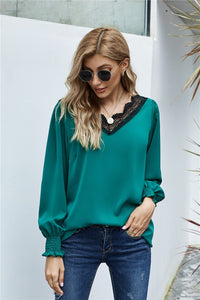 V Neck Lace Patchwork Green Blouse