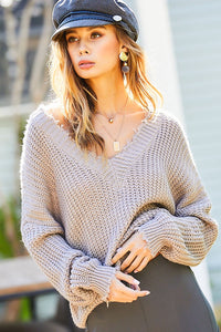 V Neck Frayed Sweater