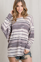 Load image into Gallery viewer, INK STRIPED BOAT NECKLINE DOLMAN LONG SLEEVE TOP