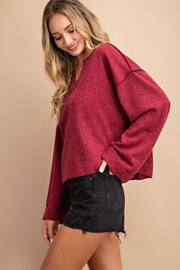 V-NECK WIDE LONG SLEEVE CASUAL TOP
