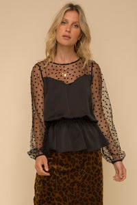 HEART FLOCKING MESH MIXED SATIN BLOUSE TOP