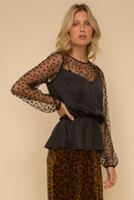 Load image into Gallery viewer, HEART FLOCKING MESH MIXED SATIN BLOUSE TOP