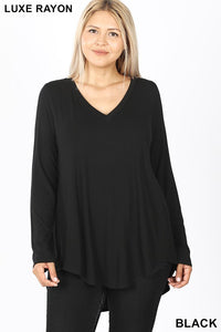 PLUS LUXE RAYON LONG SLEEVE V-NECK DOLPHIN HEM TOP