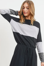 Load image into Gallery viewer, Color Block Long Sleeves Pocket Culotte Jumpsuit