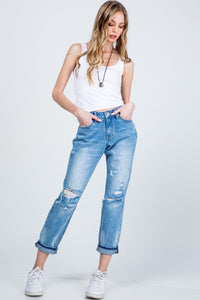 MID RISE RELAXED SKINNY WITH CUFF