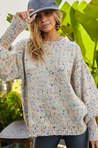 Round Neck Bubble Sleeve Oversize Confetti Sweater