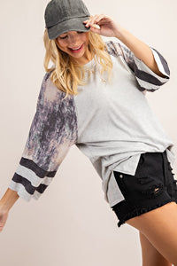 MIXED FABRIC COLOR BLOCK BASEBALL TOP