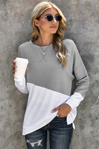 Patchwork Dropped Shoulder Sleeve Sweatshirt
