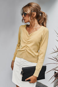 V Neck Button Down Solid Ruched Top