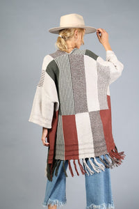 COLOR BLOCK FRINGE TASSEL ACCENT MID LENGTH KNIT CARDIGAN
