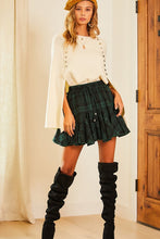 Load image into Gallery viewer, Waist Elastic Adjustable Tie Ruffle Tartan Skorts